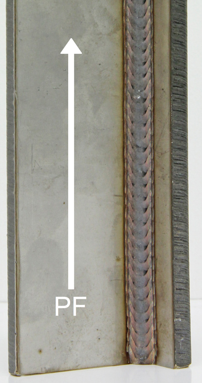Vertical-up weld with PF